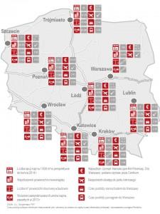 Mapa największych rynków biurowych w Polsce