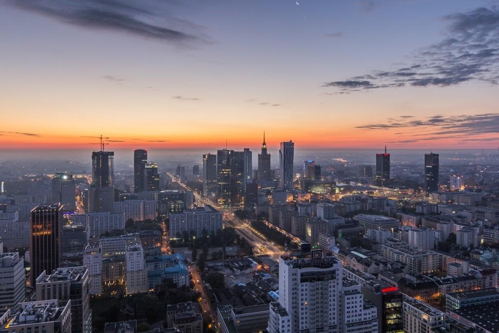 Ghelamco_Warsaw_Spire_widok z budynku wieżowego na Warszawę